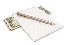 Notepad with money and pen Stock Image