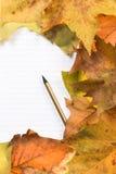 Notepad na żółtym liściu fotografia stock