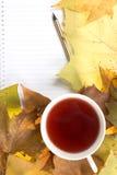 Notepad na żółtym liściu zdjęcie royalty free