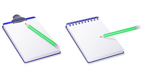 Notepad notebook and pencil Stock Photography