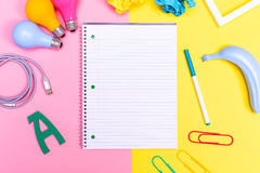 Notepad with objects Stock Photos
