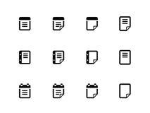 Notepad och klibbig anmärkningssymbolsuppsättning. Arkivfoton