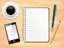 Notepad on office desk top view,  Stock Photos