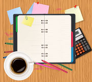 Notepad and office supplies. Vector Stock Photos