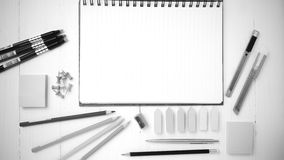 Notepad With Office Supplies Black And White Tone Color Style Royalty Free  Stock Images