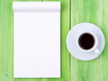 Notepad open with white blank page for writing idea or to-do list Stock Photos