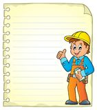 Notepad page with construction worker Royalty Free Stock Photo