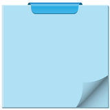 Notepad with page curl. Ed up, clip at top of pad and ample copy space for text stock illustration