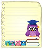 Notepad page with owl teacher and owlets Stock Image