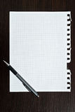 Notepad page and pen Royalty Free Stock Images
