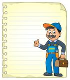 Notepad page with plumber Stock Photo