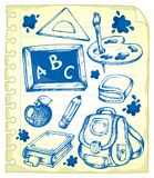 Notepad page with school drawings 1 Stock Photography