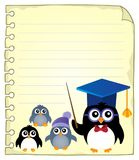 Notepad page with school penguins Royalty Free Stock Image