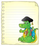 Notepad page with school theme crocodile Royalty Free Stock Photo