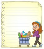 Notepad page with woman shopping Royalty Free Stock Image