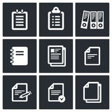 Notepad paper documents  Icons set  Royalty Free Stock Photos