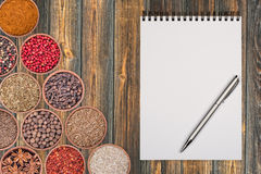 Notepad paper spices and cooking acces Stock Photo
