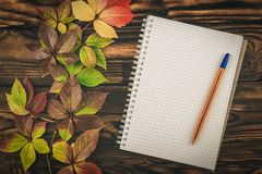 Notepad and pen with autumn leaves on a wooden table. Letter. stock images