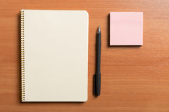 Notepad and pen Stock Photos