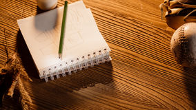 The notepad, pen and coffee on the grunge wooden table Stock Image