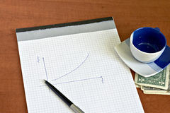 Notepad with pen and cup of coffee Royalty Free Stock Image