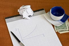 Notepad with pen and cup of coffee Stock Image