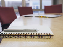 Notepad and pen in Meeting room Interior Royalty Free Stock Photo