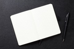 Notepad and pen on office leather desk Stock Photography