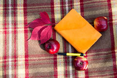 Notepad, pen and three apples on plaid with autumn leaves. Royalty Free Stock Photography