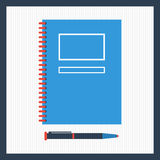Notepad with pen in top view. Stock Image