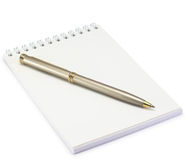 Notepad and pen on white background Stock Photography