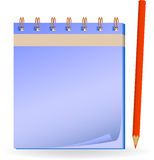 Notepad with pencil. Stock Photo
