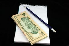 Notepad Pencil And Money Stock Image