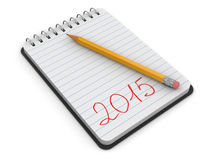 Notepad and Pencil with 2015 (clipping path included). Notepad and Pencil with 2015. Image with clipping path Royalty Free Stock Photo
