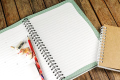Notepad and pencil on a desk Royalty Free Stock Photography