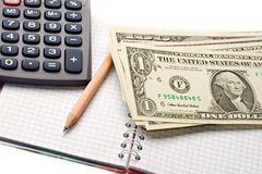 Notepad, pencil, dollar Stock Images