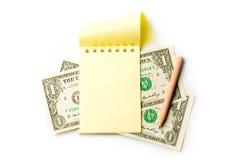 Notepad, pencil, dollar Stock Photos