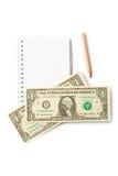 Notepad, pencil, dollar Stock Image