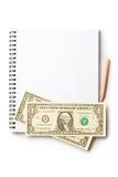 Notepad, pencil, dollar Stock Photo