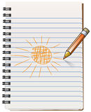 Notepad with pencil drawning the sun Stock Images