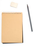 Notepad with pencil and eraser Royalty Free Stock Image
