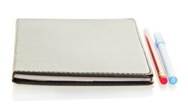Notepad, pencil and the handle Royalty Free Stock Photo