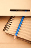 Notepad, pencil and paper folder Stock Images