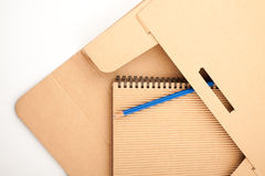 Notepad, pencil and paper folder Royalty Free Stock Image