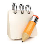 Notepad and pencil Royalty Free Stock Photo