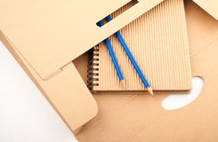 Notepad, pencils and paper folder Royalty Free Stock Photo