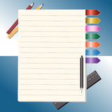 Notepad and pencils vector illustration Stock Photography