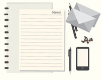 Notepad and pencils vector illustration Royalty Free Stock Photography