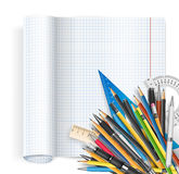 Notepad and pens. Back to school theme. Exercise book with math spread and twisted page, ruler pens and pencils. Vector background Stock Photo