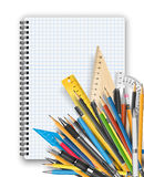 Notepad and pens. Back to school theme. Notebook, rulers pens and pencils Stock Photo
